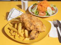 Cuarto de pollo broaster + 2 guarniciones