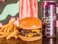 Doble Bacon Burger + Papas + Birra