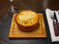 Calabaza asada, choclo, parmesano y queso crema