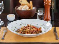 Lomo teriyaki, arroz y verduras al wok