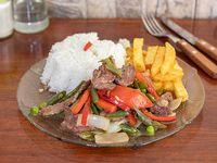 Menu jueves -  Chaucha salteada con carne fritas y arroz + sopa de carne