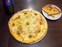 Promo - Pizza mozzarella grande + 2 faina + bebida Pepsi de 1.5 L