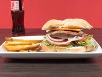 Combo 1 - Hamburguesa cheeseburger o italiana + papas fritas + bebida 237 ml