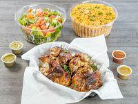 Súper combo - Pollo entero + porción grande de arroz con pollo + porción grande de ensalada