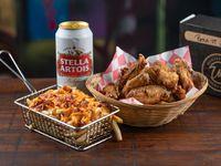 1 Buffalo Wings (12 Alas) + 1 Papas con Cheddar Bacon + 1 Cerveza Lata