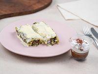 Canelones de verduras + postre brownie, dulce de leche y merengue