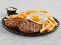 2 hamburguesas al plato con huevo frito + Fritas