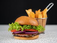 Hamburguesa con papas fritas steakhouse