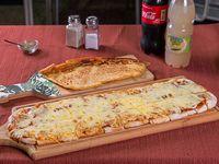 Promo - Metro de muzzarella con 2 gustos + fainá de regalo + 2 refresco 600 ml