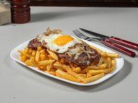 Hamburguesa al plato con papas fritas (2 unidades)