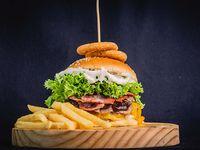 Container burger + papas fritas