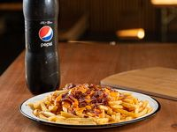 Promo 8 - Papas fritas xl cheddar y bacon con refresco Pepsi 1.5 L o cerveza 1 L