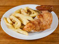Promo para 1 - 1/4 pollo + papas fritas extra + bebida en lata