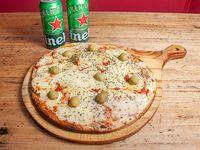 Promo - 1 pizza grande de muzzarella + 2 cervezas Heineken 473 ml