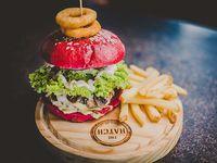 Red bang burger pan de color rojo + papas fritas