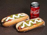 Combo - 2 hot dogs extra +  bebida 350 ml