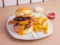 Hamburguesa comela como puedas con papas fritas + Salsa a elección