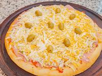 Pizza con muzzarella, jamón y huevo chica