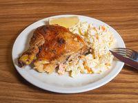 Menú económico - Pollo al horno con papas doradas o arroz + pan + postre