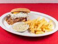 Sándwich de hamburguesa el gordo Porcel