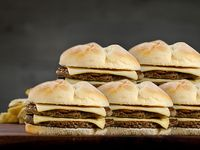 Promo dobles para 5 - Cinco hamburguesas dobles (120 g) con doble queso danbo + 2 papas fritas grandes