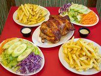 Combo 1 - Pollo entero + 2 porciones de papas fritas grandes + 2 porciones de ensalada+ salsas