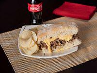 Combo Philly Cheese + Gaseosa + Paquete Papas Fritas
