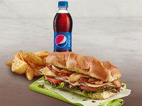 Sándwich de Pavo Domicilios + Acompañamiento + Gaseosa Pet 400 ml