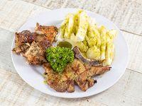Combo 8 - 1/4 de pollo asado + chuleta + acompañamiento + Matagoma 16 oz