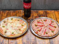 Promo - Pizza muzzarella + pizza especial +  Bebida 1.5 L
