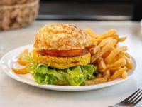 Hamburguesa vegana de garbanzo al pan