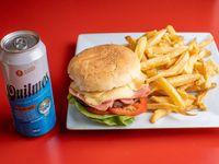 Promo - Hamburguesa completa + papas + cerveza lata 500ml