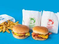 Combo 2 cheeseburgers a eleccion + papas