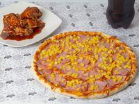 Combo - Pizza con tres ingredientes (32 cm) + Alitas de pollo (6 unidades) + Bebida 1.5 L