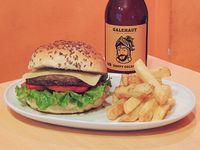 Promo karma craft beer - Cerveza Hoppy golden + cheese burger