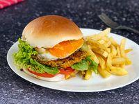 Hamburguesa vegetariana de Calabaza con fritas