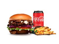 Combo - Portobello mushroom thickburger + papas (porción grande) + bebida en lata 350 ml
