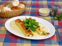 Canelones de pollo, miel y zucchini