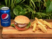Combo - Hamburguesa completa + Papas fritas + Gaseosa línea Pepsi 354 ml