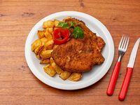 Suprema de pollo con papas fritas