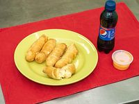 Promoción - Tequeños de queso Grandes 5 unidades + gaseosa línea Pepsi 240 ml + salsa al gusto