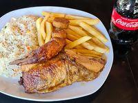 Combo 1 Cuarto pollo brasa +2 guarniciones+ Cocacola de 300 ml
