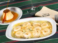 Promo - Sorrentinos de jamón y queso con salsa 4 quesos + flan