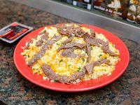 Arroz al wok con carne