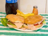 Promoción - 2 Hamburguesas completas + Papas fritas + Gaseosa línea Pepsi 2.25 L