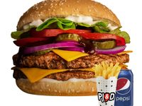 Combo - Hamburguesa doble Diego + papas fritas medianas + bebida Pepsi 350 ml