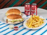 2 churrascos italianos + papas fritas +2 bebidas 350ml