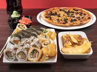 Combo 16 - 30 piezas de sushi a elección + pizza 32 cm a elección + ración de papas fritas + bebida 1.5 L
