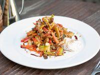 Verduras al wok + noodles de arroz