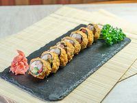 Roll sin arroz de camarón, queso crema, palta, pimentón y ciboulette